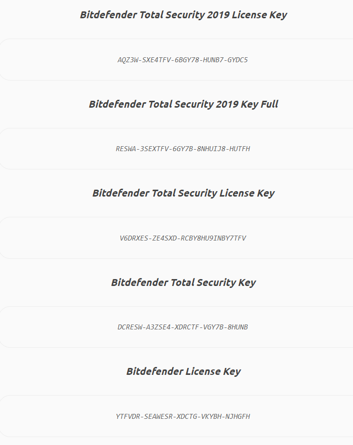 Bitdefender Total Security keys